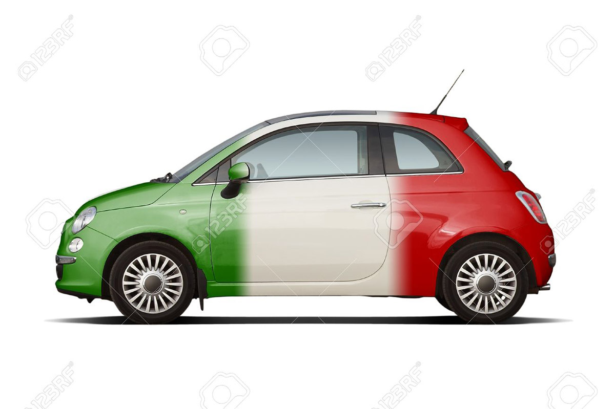 FIAT 500 THREE COLORED ITALIAN FLAG